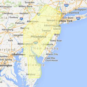 Greater philadelphia highlighted on map